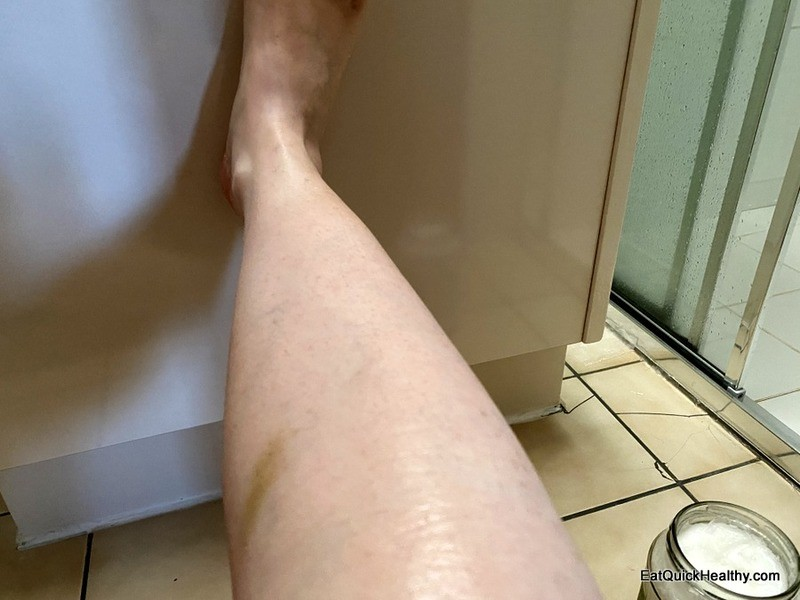 My leg after shaving with coconut oil