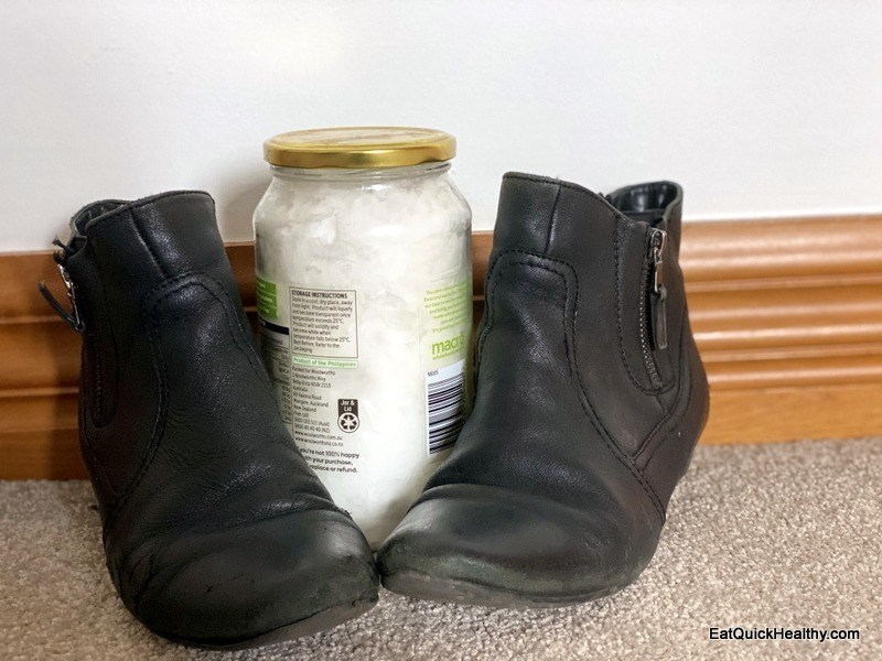 coconut oil leather shoes