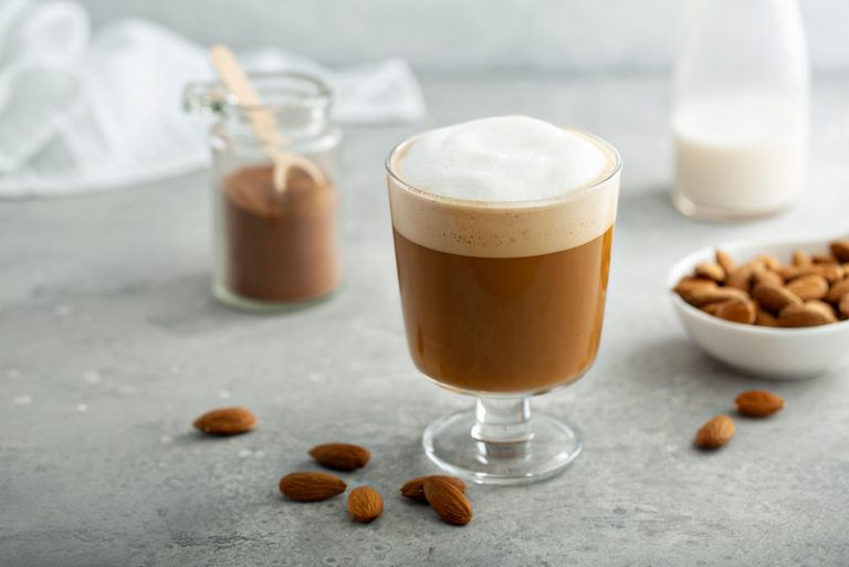 Almond Milk Latte - how to froth almond milk for latte